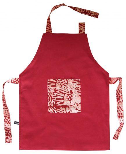 Tablier de cuisine enfant batik rouge «Néma»