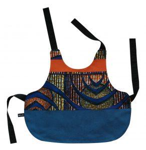 Bavoir tablier bébé bleu «Bouaké»