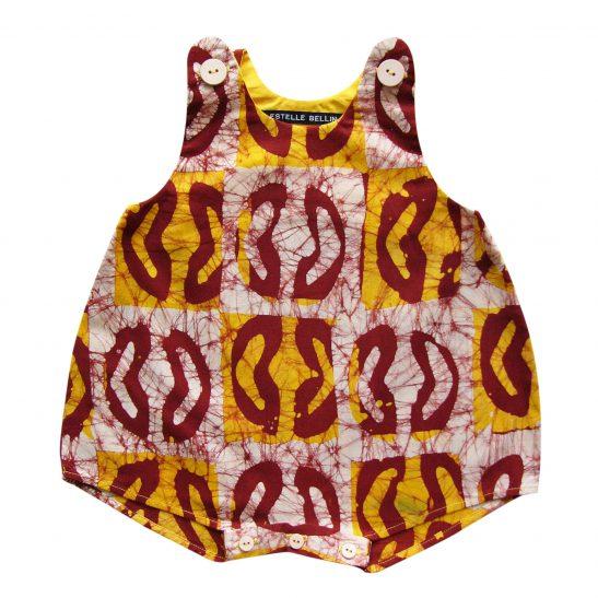 Barboteuse bébé écru en batik artisanal Sarhaan