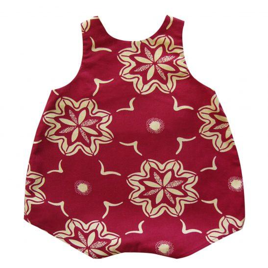 Barboteuse bébé bordeaux en wax Sangha