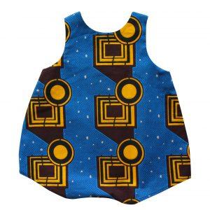 Barboteuse bébé bleu géométrique Bako