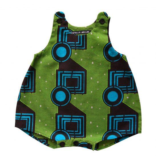 Barboteuse bébé verte géométrique Baka