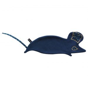 Doudou plat souris bleu en wax Cerma