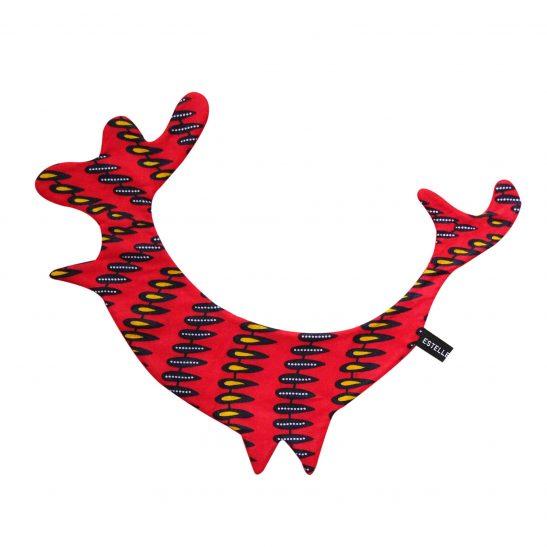 Doudou plat Coq rouge imprimé plume Tahiya