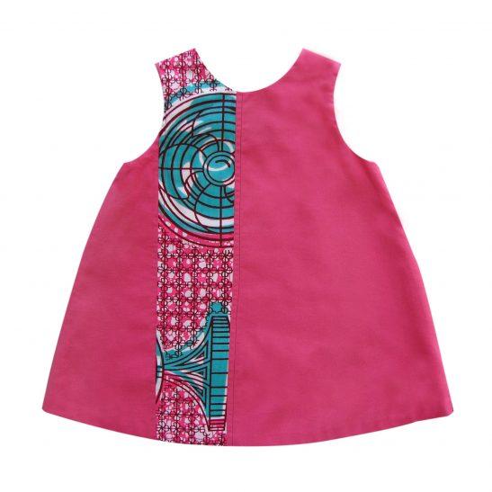 Robe bébé en coton rose et wax Karaboro