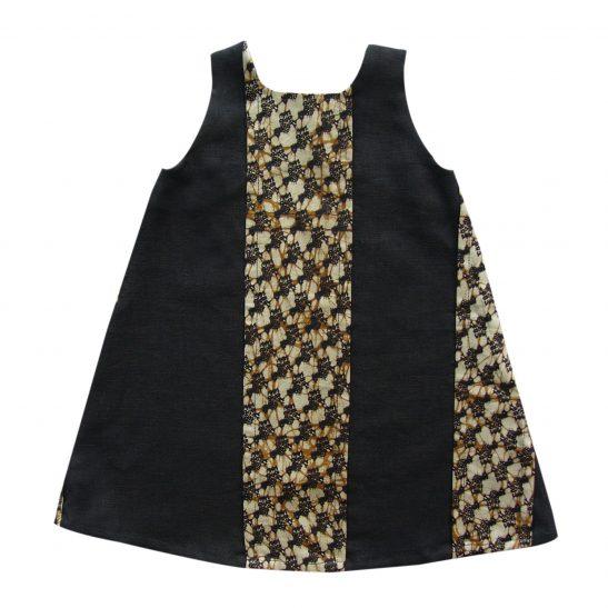 Robe trapèze en lin noir et wax Bissa