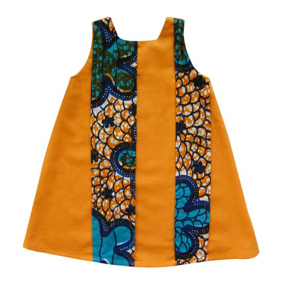 Robe trapèze en lin orange et wax Eséka