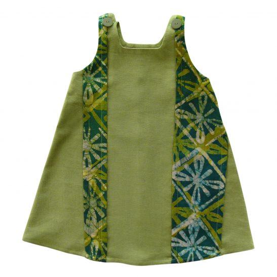 Robe trapèze en lin vert et batik Anissa