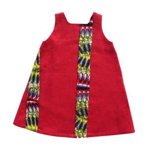 Robe trapèze en lin rouge et wax exotique Kaya