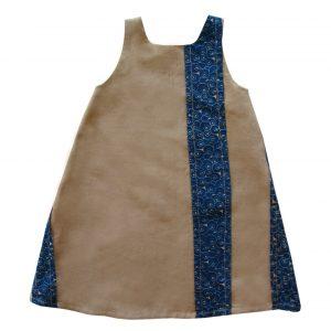 Robe trapèze en lin beige et wax bleu Cerma