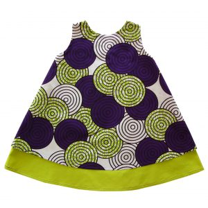 Robe fille vert fluo en wax violet Tourka
