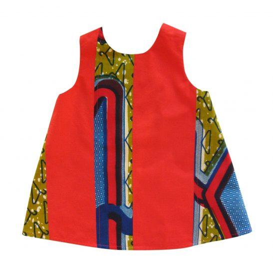 Robe bébé rouge simple et originale en wax Kiziah
