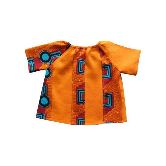 Blouse en lin orange imprimé graphique Katiola