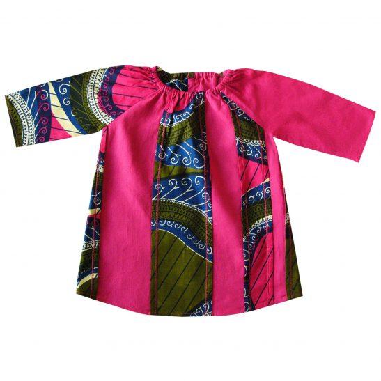 Blouse robe en lin fuchsia et wax Ghina